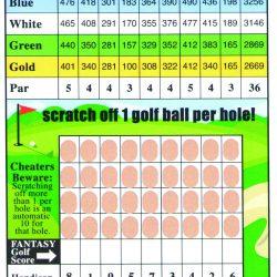 Golf Scratch Game Card